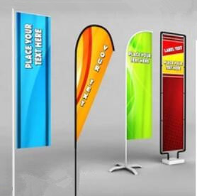 Custom Knife Shape Wing Blade Feather Beach Flag For Event